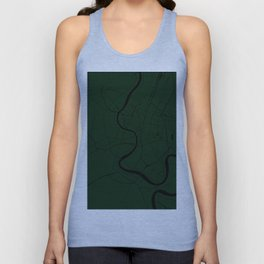 Bangkok Thailand Minimal Street Map - Forest Green and Black Unisex Tank Top