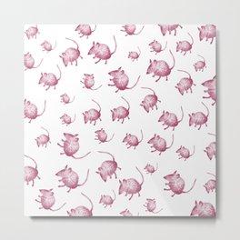 Pink Mouses Metal Print