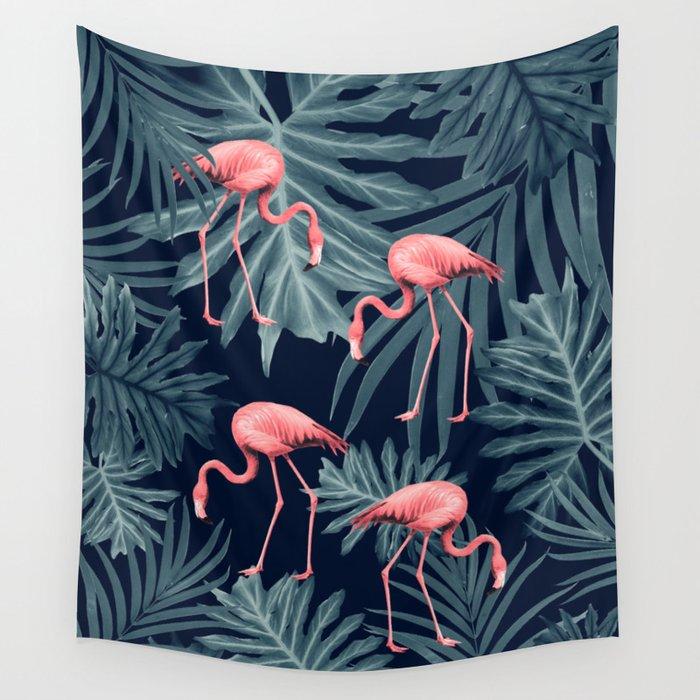 Summer Flamingo Jungle Night Vibes #1 #tropical #decor #art #society6 Wall Tapestry