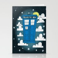 tardis Stationery Cards featuring blue box by Matthew Taylor Wilson