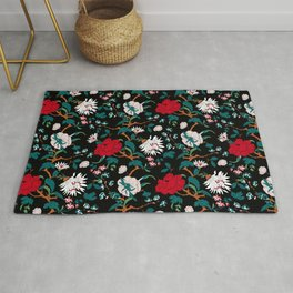 branched, jacquard, looking floral and flowers pattern design Rug