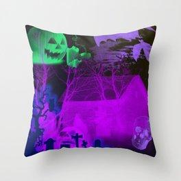 Eerie Halloween Graveyard, Grinning Skulls and Swooping Bats Throw Pillow
