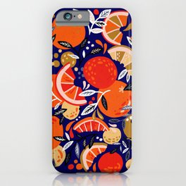 Fresh Citrus Mesh – Navy iPhone Case
