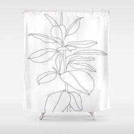 Minimal Rubber Tree Shower Curtain