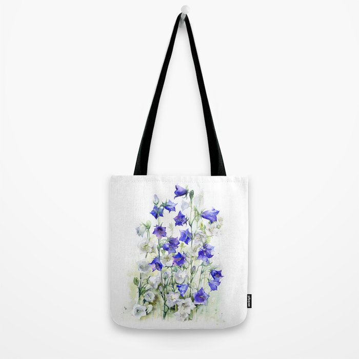 Bluebells watercolor flowers, aquarelle bellflowers Tote Bag