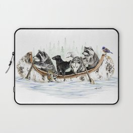 """ Critter Canoe "" wildlife rowing up river Laptop Sleeve"