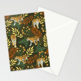 Tigers. Green pattern Stationery Cards