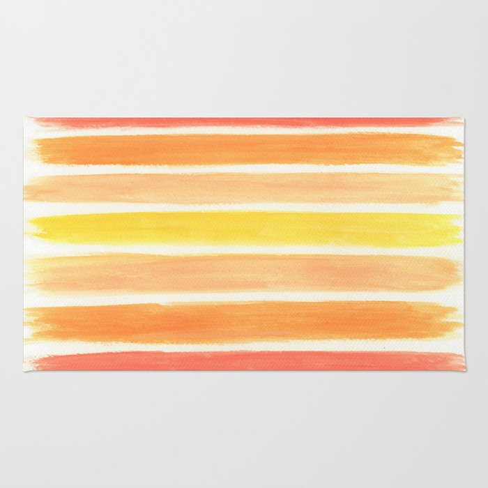 Orange Striped Abstract Rug
