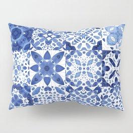 Indigo Watercolor Tiles Pillow Sham