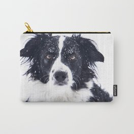border collie in winter Carry-All Pouch