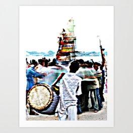 Drummer at Durga Puja Immersion Art Print
