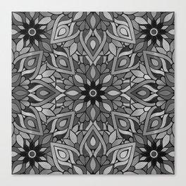 Grey Black Mandala Pattern Canvas Print
