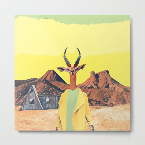 Gazelle and the cabin Metal Print