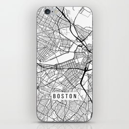 Boston Map, Massachusetts USA - Black & White Portrait iPhone Skin