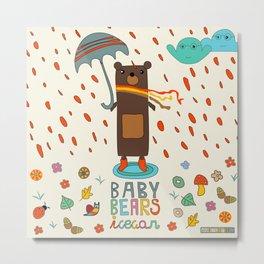 Baby Bears Icecar Metal Print