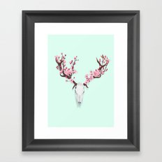 CHERRY BLOSSOM SKULL Framed Art Print