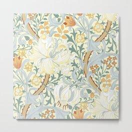 William Morris Enchanted Golden Lily Lemon Peach Floral Metal Print