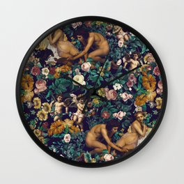 Young Greeks and Floral Pattern Wall Clock