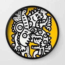 Black and White Cool Monsters Graffiti on Yellow Background Wall Clock