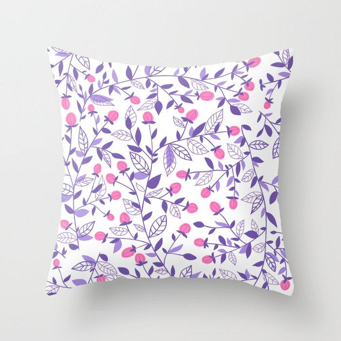 Floral doodles pink and violet Throw Pillow