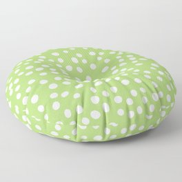 Green and white doodle dots Floor Pillow
