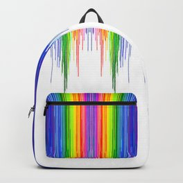 Rainbow Paint Drops on White Backpack