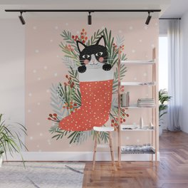 Cat on a sock. Holiday. Christmas Wall Mural