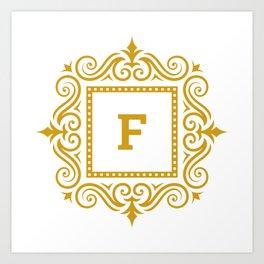 Decorative Monogram F Gold Art Print