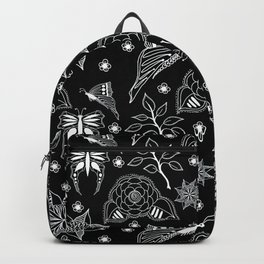 Butterfly Floral Black and White Line Drawing Backpack