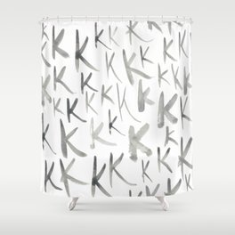 Watercolor K's - Grey Gray Shower Curtain
