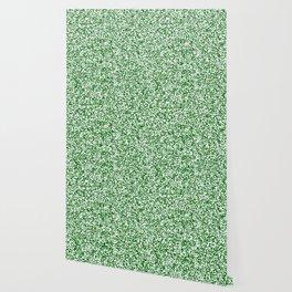 Tiny Spots - White and Dark Green Wallpaper