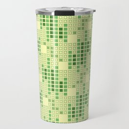 BRIXHAM, VINTAGE RETRO SQUARES: SPRING GREEN Travel Mug