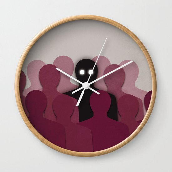 Different And Alone In Crowd Wall Clock