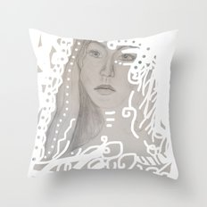 grey face made of pencil and lace Throw Pillow