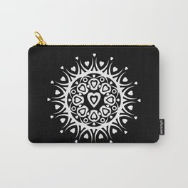 White hearts (black background) Carry-All Pouch
