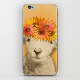 Daisies Sheep Girl Portrait, Mustard Yellow Texturized Background iPhone Skin