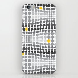 Dottywave - Grey and yellow wave dots pattern iPhone Skin