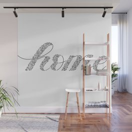 Home, Letters filled with floral illustrations, black and white Wall Mural