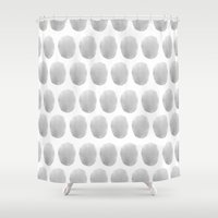 polkadot Shower Curtains featuring Watercolour polkadot grey by Mouseblossom