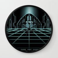 tron Wall Clocks featuring Tron Legacy by Yuri Meister