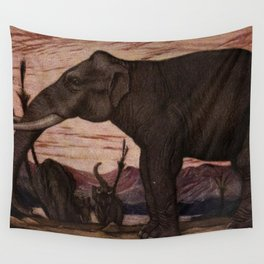 Vintage Elephant Painting (1909) Wall Tapestry