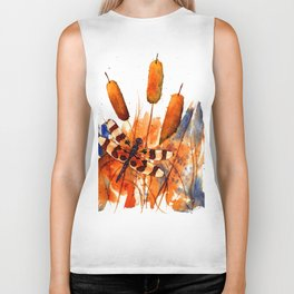 Banded Dragonfly and Cattails Biker Tank