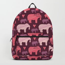 Purple and Pink Kids Baby Elephants Silhouette Backpack