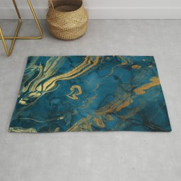Fire & Ice Blue and gold marbling swirls Rug
