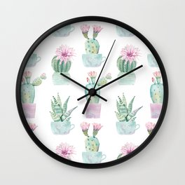 Simply Echeveria Cactus in Pastel Cactus Green and Pink Wall Clock