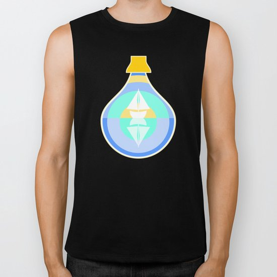 Ship in glass bottle Biker Tank