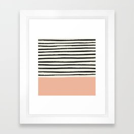 Peach x Stripes Framed Art Print