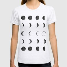 Moon Phases, Black White Decor, Bohemian, Magic, Lunar Cycle Ash Grey Womens Fitted Tee SMALL