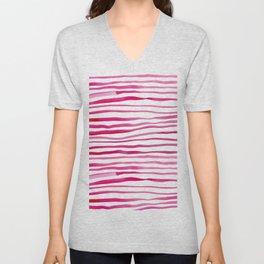 Irregular watercolor lines - pink Unisex V-Neck