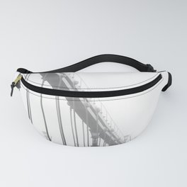 Bridge lost in fog Black and White Fanny Pack